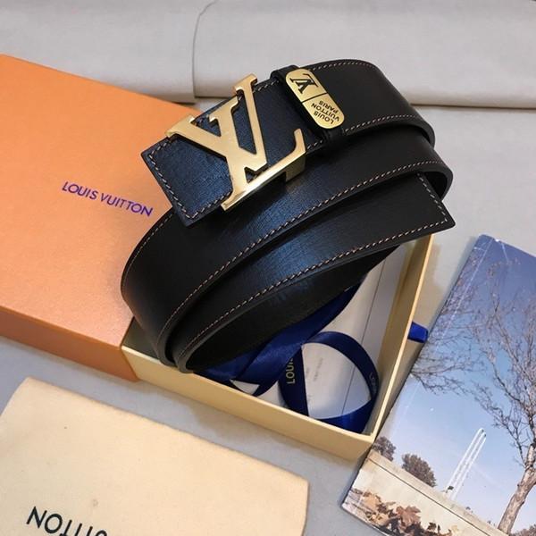 Cinturón de cuero negro importado genuino de la mano del molde abierto personalizado importado cinturón para hombre cinturón oficial auténtico con la caja