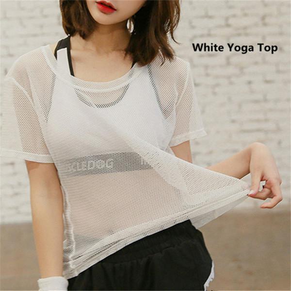 2019 Hot Sexy Mesh Yoga Tops Women Fitness Tight Short Sleeve Sport T Shirt Quick Dry Sportswear Summer Gym Athletic Running Vest Black