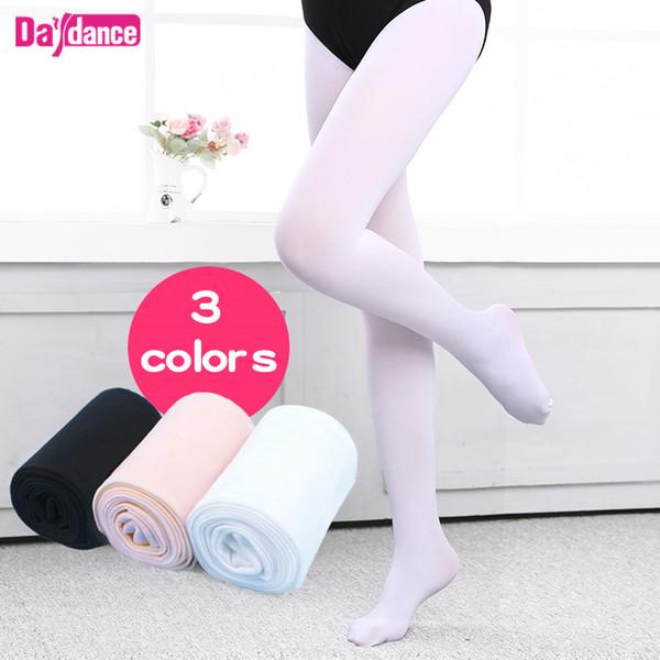 Ragazze passo donne Ballet Collant in microfibra Velvet Bianco Nero Rosa balletto ballo calze collant con tassello
