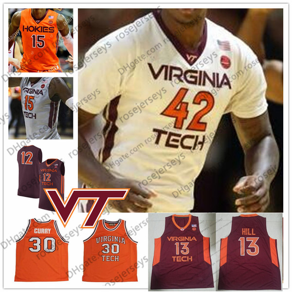 NCAA Virginia Tech Hokies #12 Bimbo Coles 1 Isaiah Wilkins 14 PJ Horne 42 Ty Outlaw College Basketball Red Orange White Jerseys S-4XL