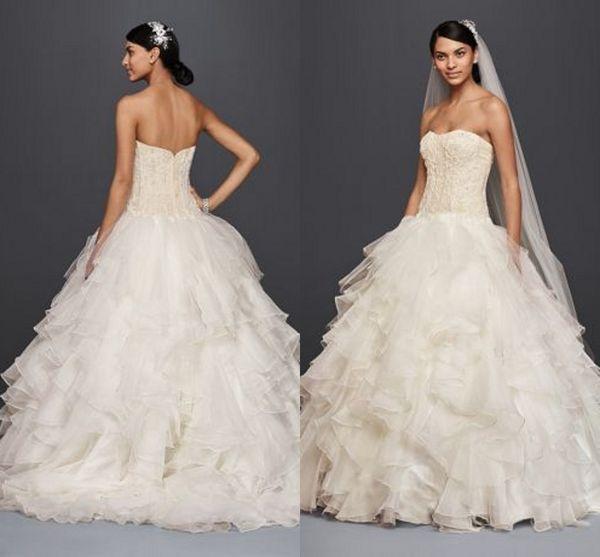 Discount Oleg Cassini Plus Size Ruffles Wedding Dresses 2019 Sparkly ...