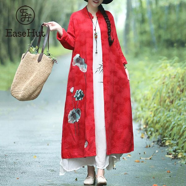 EaseHut Trench Coat for Women Jacquard Floral Embroidery Cotton Linen Long Sleeve Loose Long Coat Red Spring Autumn Windbreaker