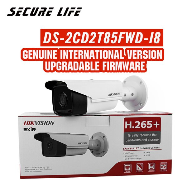 Free shipping English version DS-2CD2T85FWD-I8 8MP H.265+ CCTV ip Camera POE 80m IR SD card