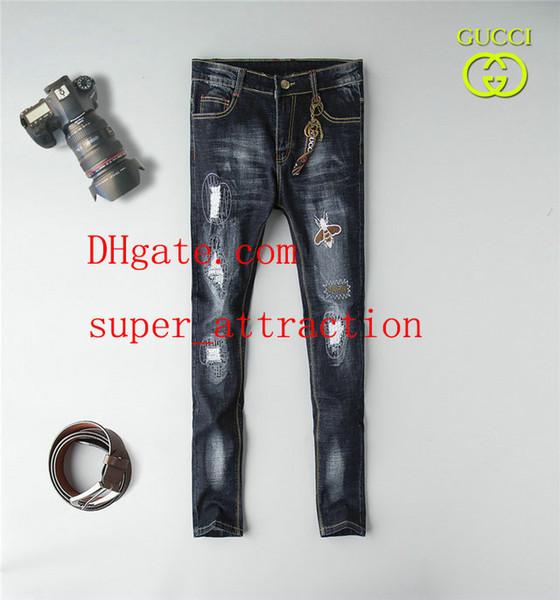 Calças dos homens Angustiado Rasgado Skinny Jeans Moda mens jeans Slim Moto Motociclista Causal Denim Calças Hip Hop Jeans mens roupas NZ-79