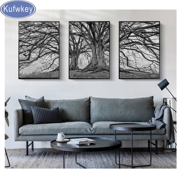 triptych Diamond Painting Full Drill Square Mosaic Diamond Embroidery Black and White tree Wall Art Picture Of Rhinestone diy 5d