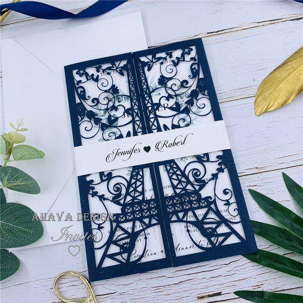 Splendid Elegant Navy Blue France Theme Laser Cut Wedding