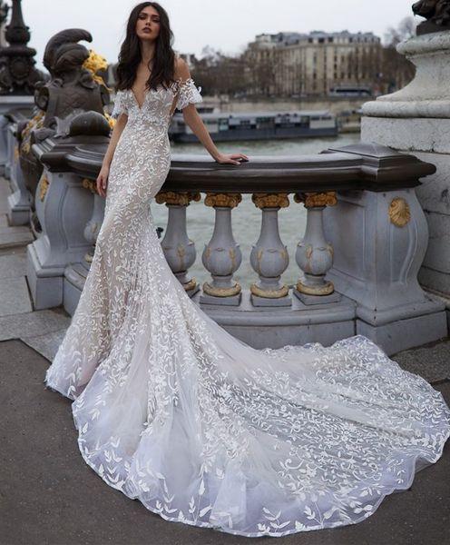 Off the Shoulder Mermaid Wedding Dresses Vestido de Novia Sexy Deep V Neckline Open Back Sheer Lace Wedding Dress Bridal Gowns Formal Gown