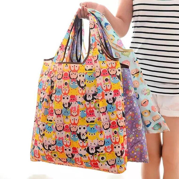 Foldable Handy Shopping Bags with Hook Reusable Tote Pouch Recycle Storage Handbag Eco-friendly Folding Bags