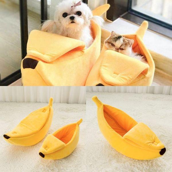 Banana Shape Pet Dog Cat Bed House Mat Durable Kennel Doggy Puppy Cushion Basket Warm Portable Dog Cat Supplies S/M/L/XL