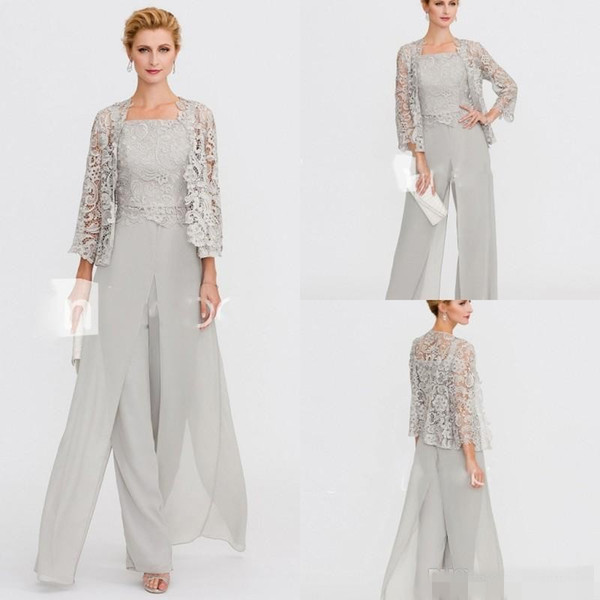 Elegant Pant Suits Mother Of The Bride Dresses Pantsuits Lace Silver Wedding Guest Dress With Jacket Cheap On Sale Groom Mother Outfit