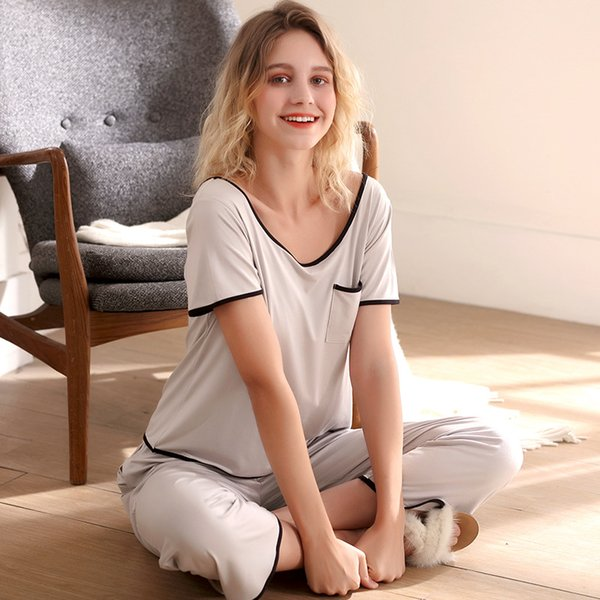 Korean Version Pajamas Summer Thin Section Female Modal Two-piece Set Large Size Short-sleeved Trousers Home Clothes Night Suit