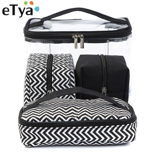 eTya Men Women Transparent Cosmetic Bag Travel Portable Multifunctional Makeup Wash Bag Clear PVC Storage Handbag Canvas Box