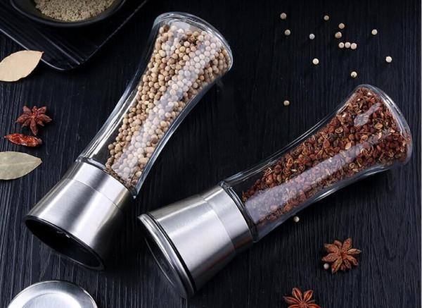 01 304 stainless steel pepper grinder glass bottle pepper condiment pot kitchen supplies