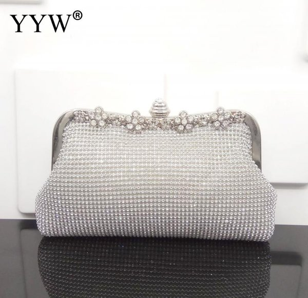 Zinc Alloy Handbag Unique with rhinestone with Polyester Solid more colors for choice Sold By PC