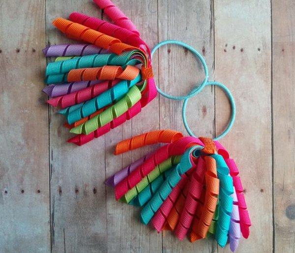 "20PCS girl 3"" short korker curly tassel ribbons ponytail holders corker streamer hair bows clips ties elastic rope hair accessories PD023"