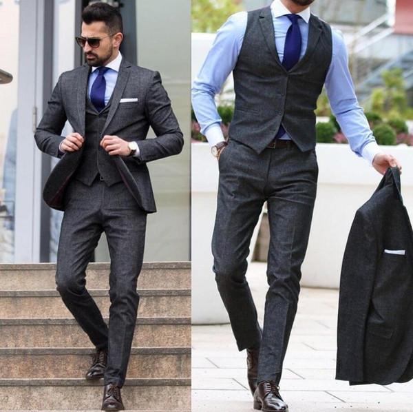 Men's Tweed Dark Gray Three Pieces (Blazer+Pant+Vest) Suits Formal Slim Wedding Best Men Tuxedos With Notched Lapel For Sale