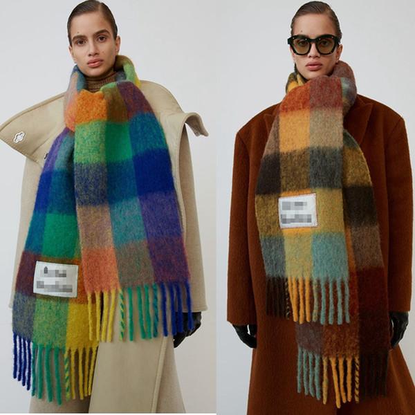 Automne et hiver nouvel arc-en-couleur correspondant femmes écharpe en cachemire femmes de luxe double face châle chaud Plaid 30 * 250cm