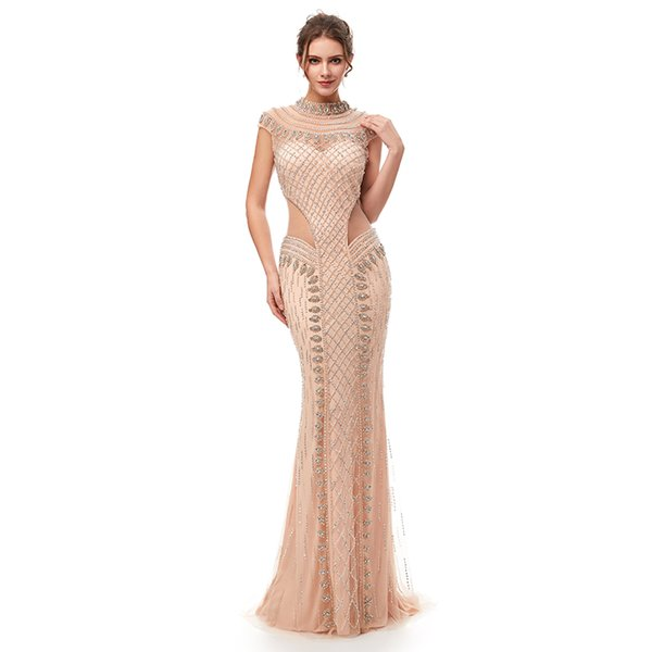 Elegant Arabic Beaded In Stock Prom Dresses Short Sleeves 2019 With Cape Backless Formal Evening Gowns Kftan Red Carpet Party Dresses
