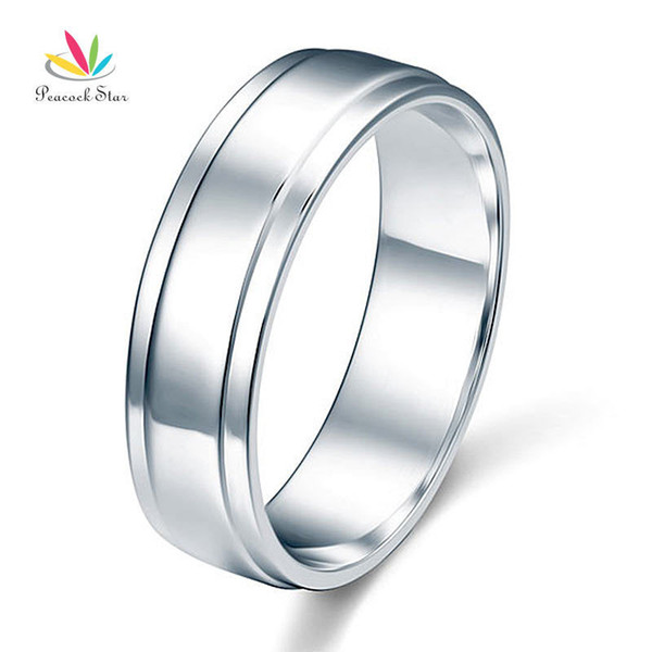 Peacock Star Men's Solid Sterling Solid 925 Silver Wedding Band Ring Jewelry Cfr8055 T190624