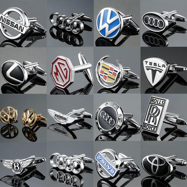 Boutons de manchette de haute qualité pour hommes boutons de marque de voiture neuve bouton logo MG VOLVO Lincoln Cadillac Tesla Cufflinks