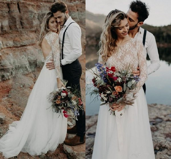 2019 Beach Garden Boho Long Sleeve Wedding Dresses Western Country Style Sheer Lace Appliques Sexy Hollow Back Long Bohemian Bridal Gowns