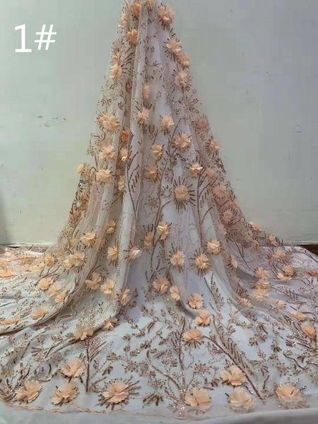 Kaliteli üç boyutlu çiçek nakış Fransız tül dantel sequins gelinlik etek giyim için Afrika dantel kumaş