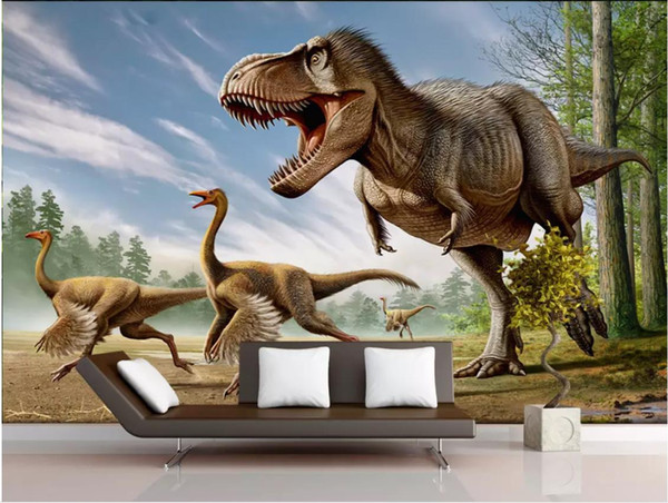 Пользовательские фото обои для стен 3 d фрески обои мультфильм фреска 3D динозавр фон стены декоративная живопись обои home decor