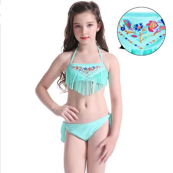 Mädchen Swimwear gestickte Mädchen Badeanzug Shorts 2pcs Sätze für Kinder Quaste Bikini-Badeanzug-Sommer-Art- und Schwimmen Kostüme 2 Farben YW2609