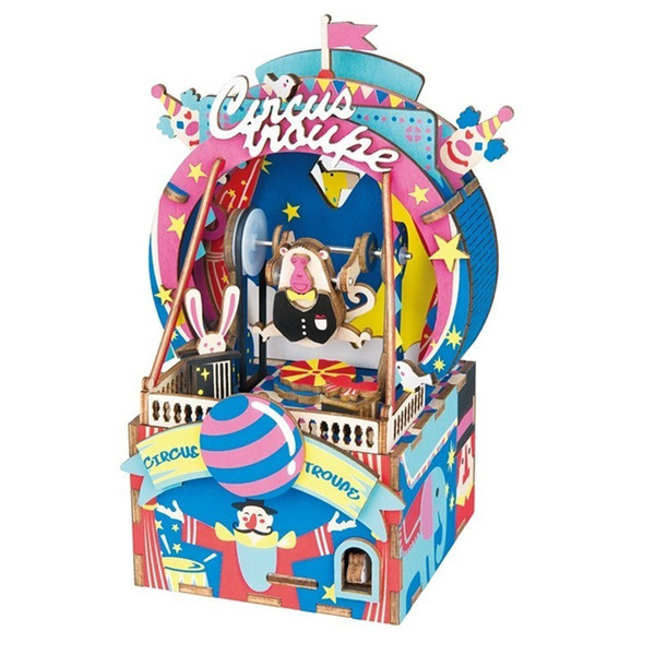 wholesale DIY 3D Amusement Park AMD41 Wooden Puzzle Game Assembly Moveable Music Box Toy Gift for Children Kids Adult