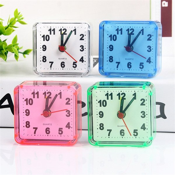 Alarm Clock Square Small Bed Compact Travel Clocks Mini Children Student Desk Bedside Desk Table Home Quartz Beep Cute Portable