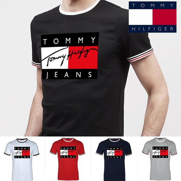 2019 Мужские футболки дизайнер мужской бренд футболки мода с коротким рукавом Мужская одежда популярные письма шаблон дышащий 05529