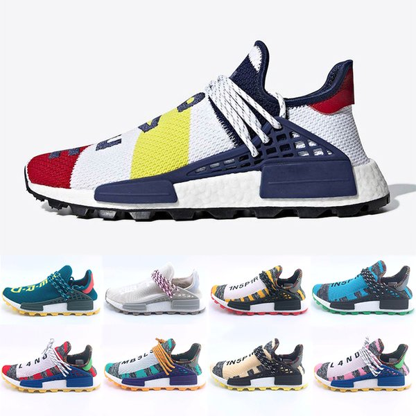 36-47 Heart Mind Hu Human Race Running Shoes Green Orange Nerd Solar PacK pharrell williams trail trainers Men Women runner Sports sneakers