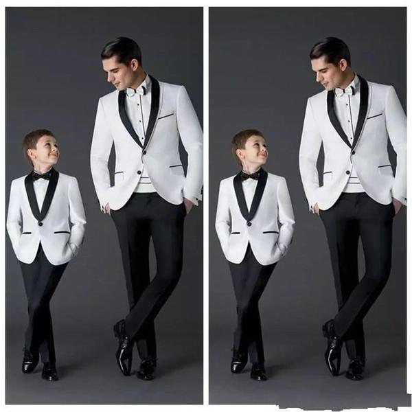 Chicos blancos populares Ocasiones formales Esmoquin negro de solapa Niños Boda Tuxedos Fiesta infantil Fiesta Chaqueta traje (chaqueta + pantalón + corbata)