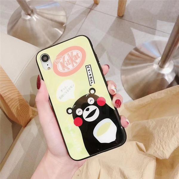 cassa del telefono di lusso un pezzo solo per iPhone6S 7 8P X XS XR moda carino orso dei cartoni animati con la cassa del telefono designer del vetro di copertura posteriore