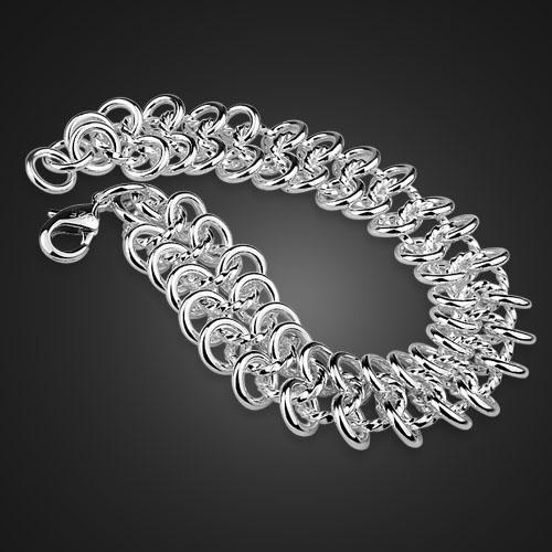 Venta al por mayor pulsera de plata esterlina sólida 925 plata esterlina 18MM20cm pulsera para mujer encanto damas regalo de joyería