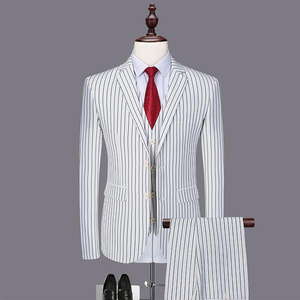 3 pieces Striped Print Suit Men Fashion Slim Fit Wedding Dress Suit Blazer Bridegroom Tuxedo White Business Mens Suits Sets Sale