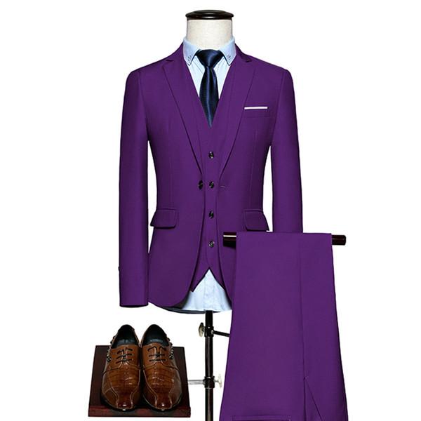 2019 New Men Formal Suit 3 Piece Set Asia Size S - 6XL Wedding Banquet Men Suit Jacket with Vess and Pants