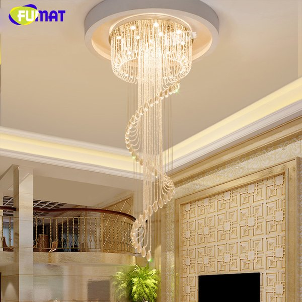 FUMAT K9 Crystal Chandeliers Large Crystal Light For Living Room Modern Brief European Spiral K9 Crystal Led Lustre Decor Lamps