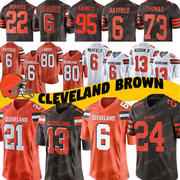 Cleveland Brown Jerseys 6 Baker Mayfield 13 Odell Beckham Jr 24 Nick Chubb 21 Denzel Ward 26 Greedy Williams 73 Joe Thomas 80 Jarvis Landry
