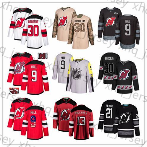Personalizado New Jersey Devils Jersey 30 Martin Brodeur 9 Taylor Salão 13 Nico Hischier 21 Kyle Palmieri 44 Miles Madeira P. K. Hockey Subban bandeira dos EUA