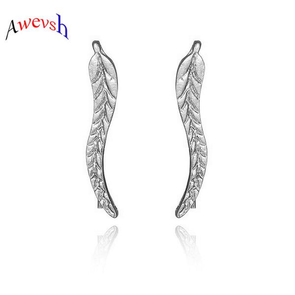 Awevsh Nuevo Diseño Pendientes de Aleación de Moda Para Las Mujeres Pendientes Pendientes de Hoja de Metal Sin Fallas Pendientes de Oreja Elegante Clip de Oreja Joyerías