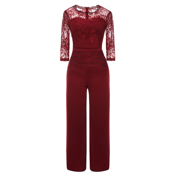 Ladies' Sexy Seven-quarter Sleeve sexy club female jumpsuit elegant Party transparent And Evening Casual Lace Jumpsuit#9
