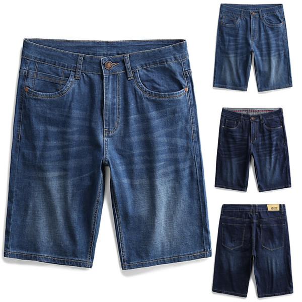 Calças dos homens Calças de Brim Do Verão Shorts Casuais Skate Board Stright Calças Confortáveis Moda Jean Plus Size S-9XL Calças Dos Homens