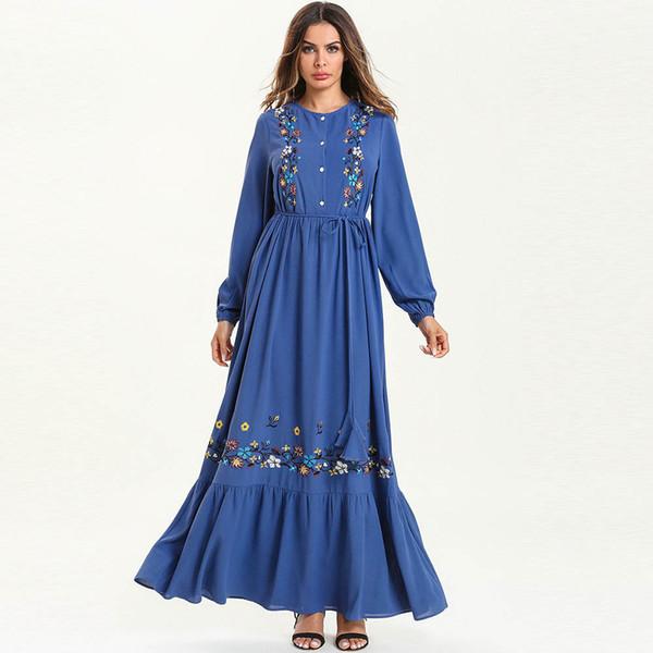 2019 New Long Sleeve Elegant Women Floral Embroidery Maxi Dress Empire Sashes Swing Ruffle Ethnic Dress Cotton Robe Femme Plus Size