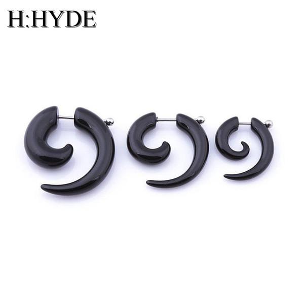 H:HYDE 1pc men women spiral ear taper snail ear expanders piercing black body jewelry faux plug tunnel pircing septum tragus