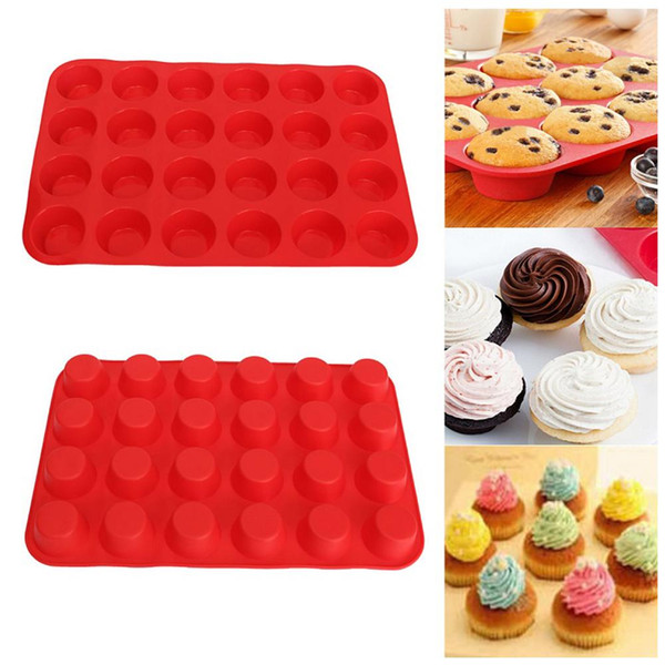 Mini Muffin Cup 24 Cavity Silicone Soap Cookies Cupcake Bakeware Pan Tray Mould Home DIY Cake Tool Mold 33.5cm X 22.5cm ZDT1