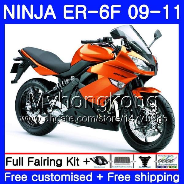 KAWASAKI NINJA 650R ER-6F ninja650 ER6F 09 Için vücut 10 11 252HM.7 Ninja650R ER6 F ER 6F Açık turuncu yeni 2009 2010 2011 Fairings Kiti + 7Hediyeler