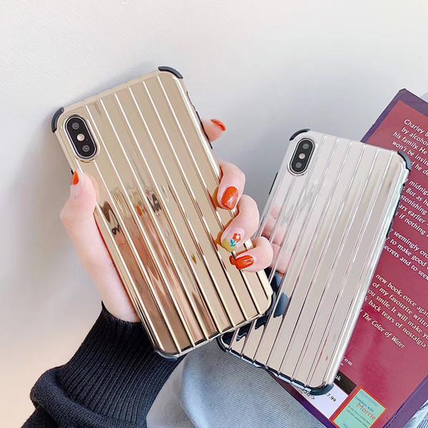 One Piece cas de téléphone de luxe pour iPhone 6S 7 P X XS mode Miroir électrolytique avec anti-chute coffre Designer cas de téléphone couverture arrière
