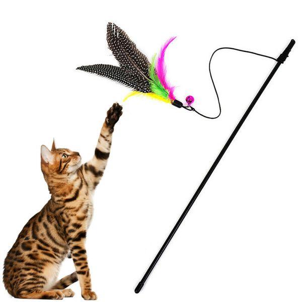 2020 Yeni Geliş Komik Kedi Kedi Pet Çal Uzun Fragman Wand İnteraktif Eğlence Oyuncak Pet Tüy Bell Komik Tüy Kedi Çubuk