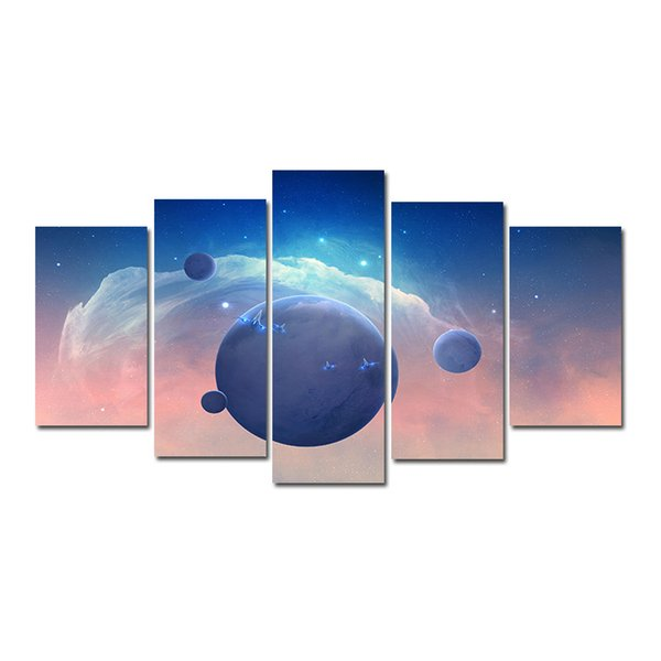 5 Pcs Combinations HD Universe Star Planets Spaces Pattern Unframed Canvas Painting Wall Decoration Printed Oil Painting poster